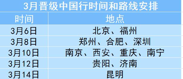 3月晋级中国行时间和路线安排